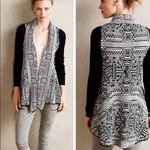 Anthro Field Flower Stamped Jacquard Cardigan